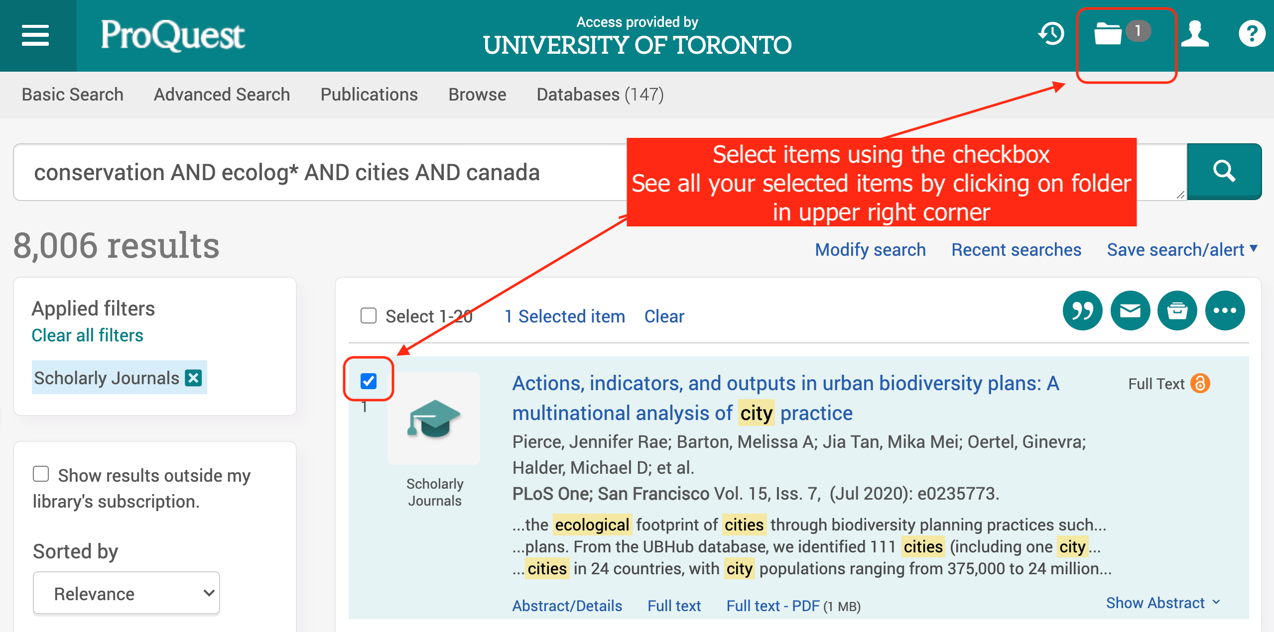 Screen shot  ProQuest Results for  conservation AND ecolog* AND cities AND canada. Select items using check box and view all selected item with the folder icon in upper right corner.