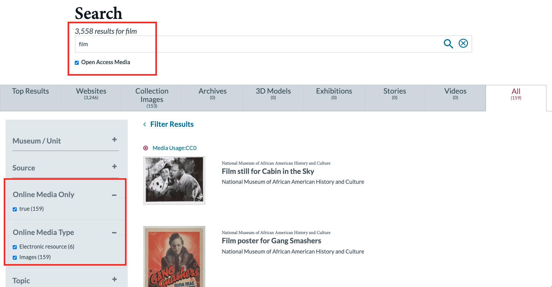 Screenshot of Smithsonian's Search Platform for Open Access Media - si.edu