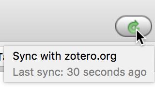 """Sync with zotero.org"" button in upper right corner"