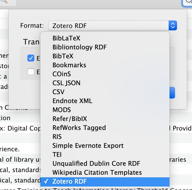 drop down menu for Export Formats options for Zotero Library