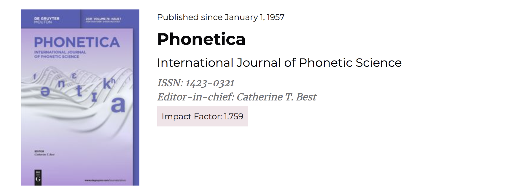 Phonetica journal cover