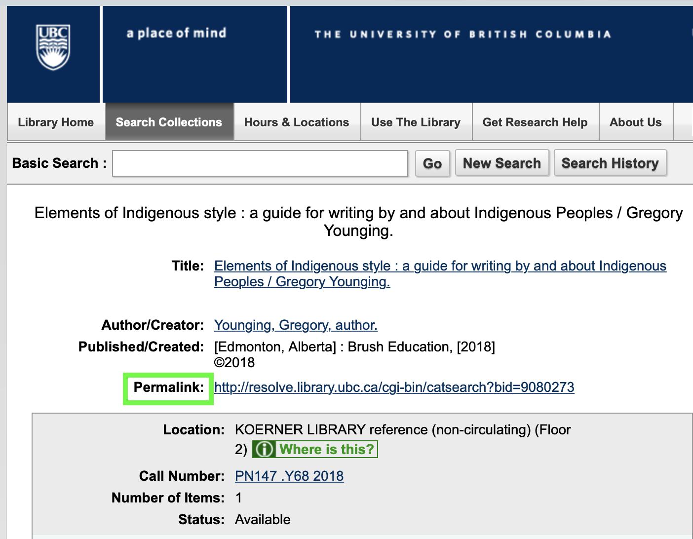 UBC Library catalogue screenshot indicating location of permanent URL