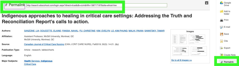 Screenshot ebsco database: permalink on far right