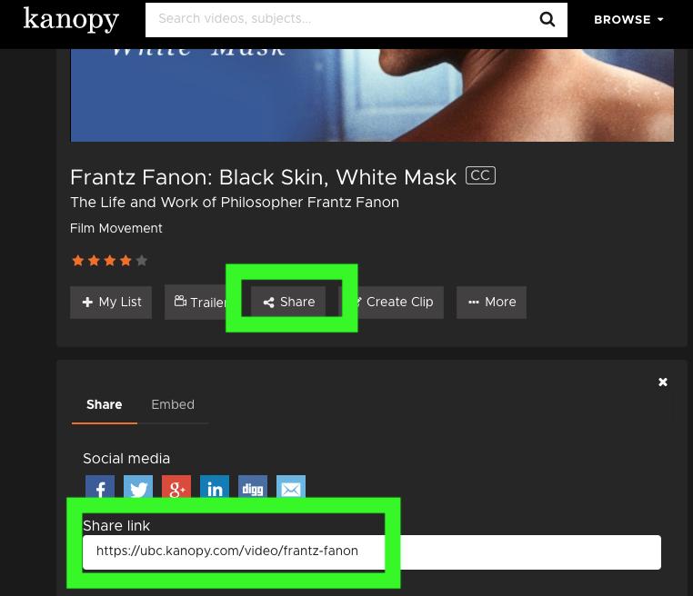 screenshot kanopy: use share tool below video