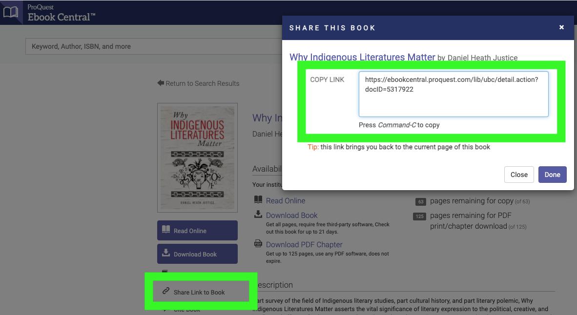 Screenshot proquest database: share URL on left