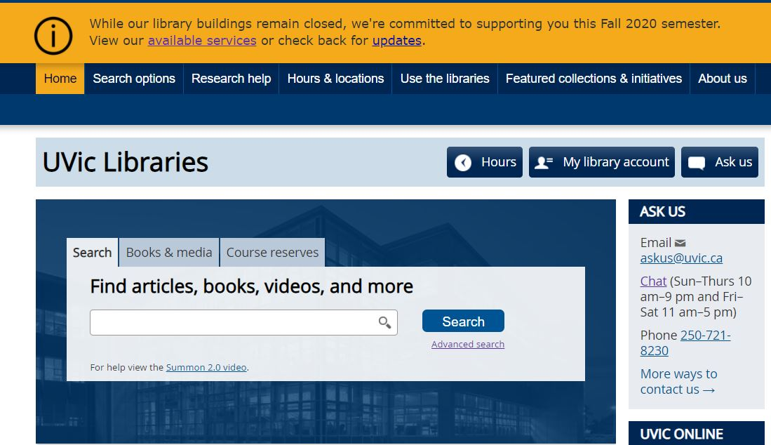 screenshot of UVic Libraries' homepage and search box