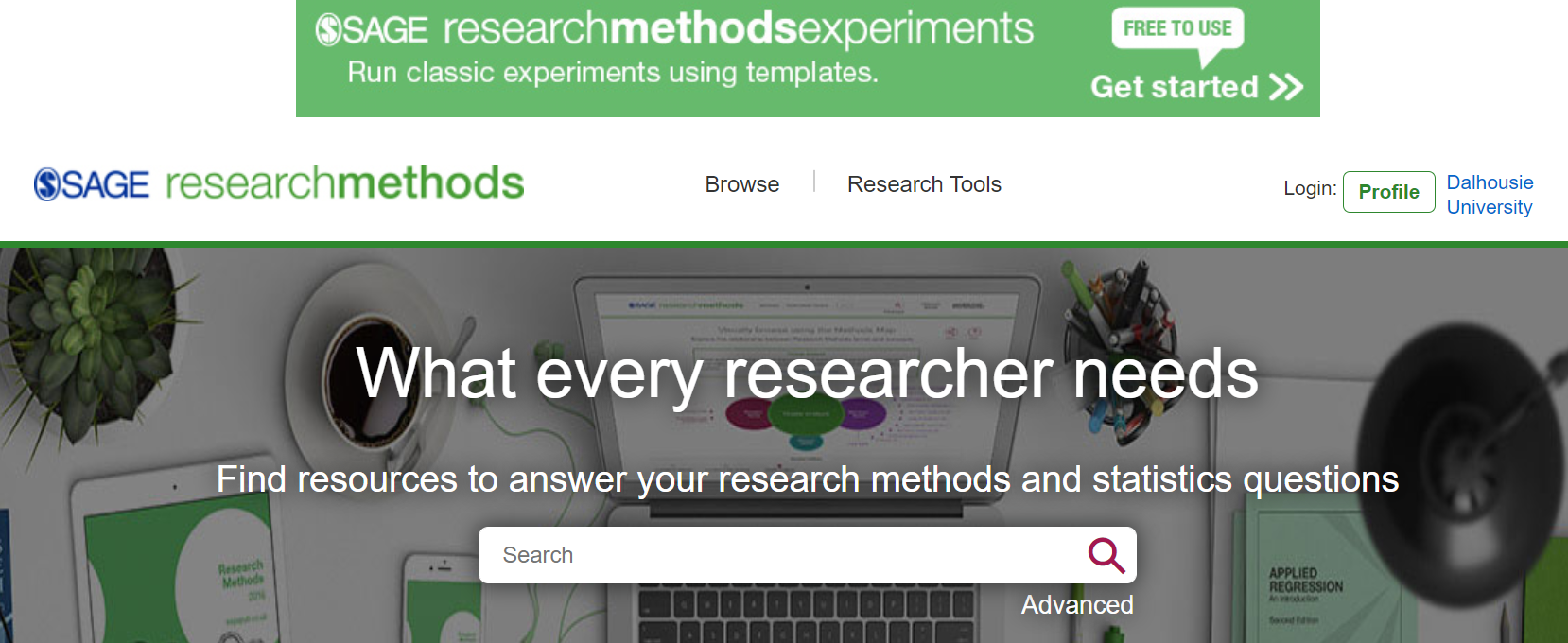An image of the home page of SAGE Research Methods.