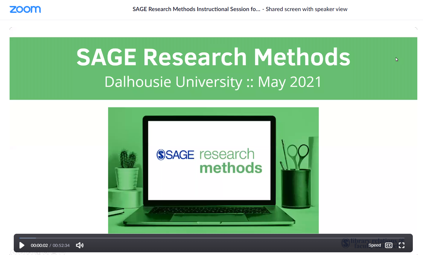Screen image from the Sage Research Methods Webinar given to Dalhousie University.