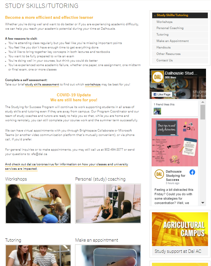 An image and link to the Study Skils/Tutoring website at Dalhousie University.