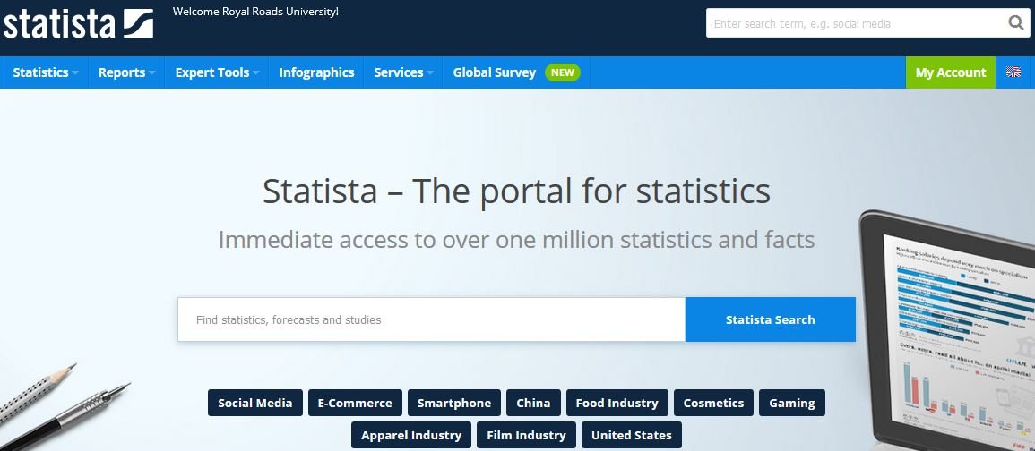 Statista search page