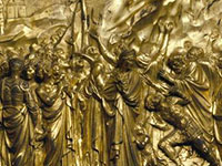 Gates of Paradise. Detail of Left Door, Moses Panel. by Lorenzo Ghiberti