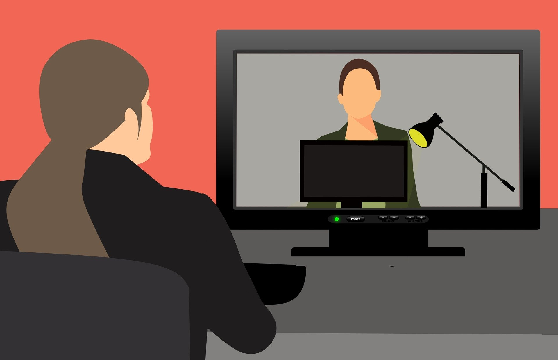 Drawing of person with long hair in ponytail watching instructor on computer monitor by Mohamed Hassan from Pixabay