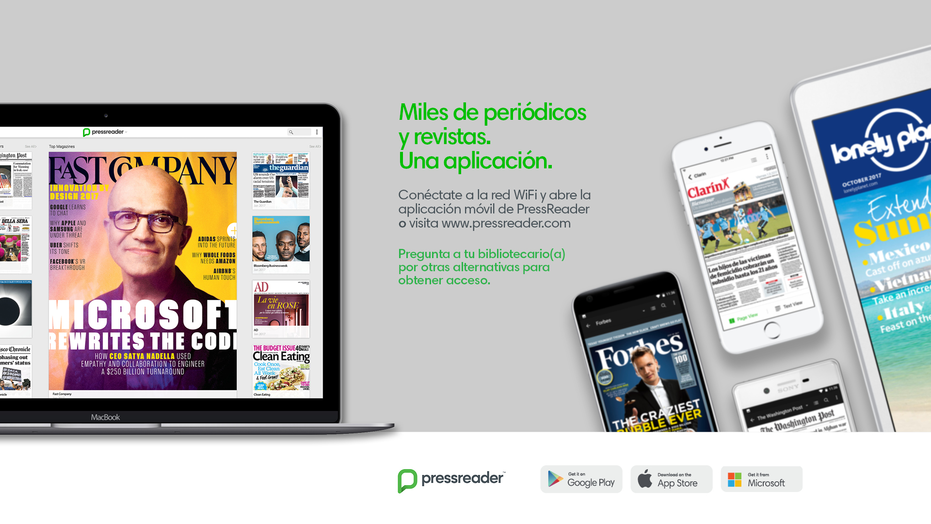 PressReader poster. Show magazine covers in Spanish and English displayed on tablets, phones and laptops.