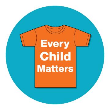 Every Child Matters text on orange shirt