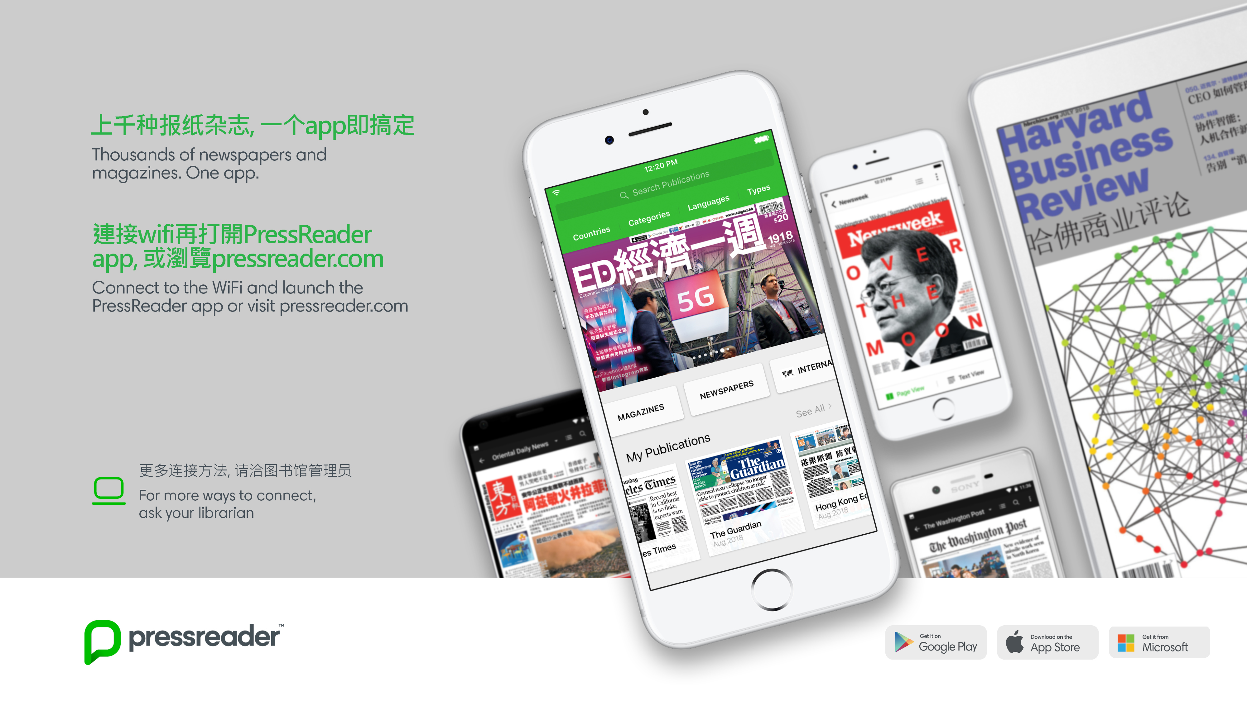 PressReader Poster. Magazine covers in Chinese and English displayed on tablets and phones.