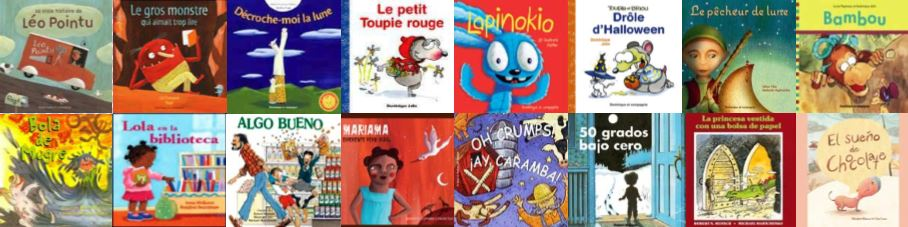 Piture book covers in Spanish and French from TumbleBooks.