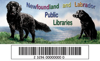 NLPL Library card with a barcode and an image of two black dogs, one newfoundland dog and a labrador retriever..