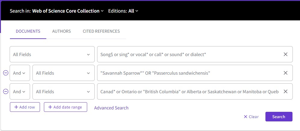 Web of Science Search Screenshot