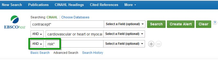 Screenshot of keyword search entry in CINAHL