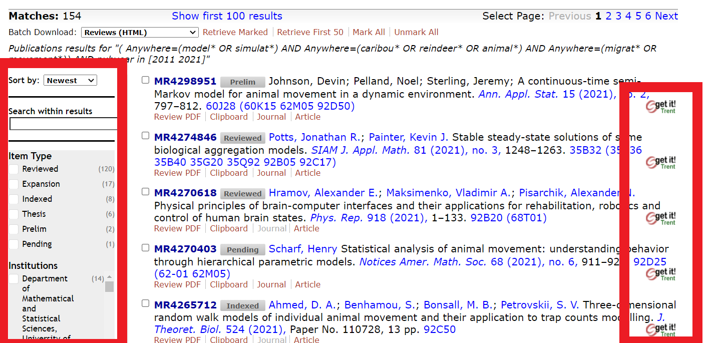 MathScieNet Results Screenshot