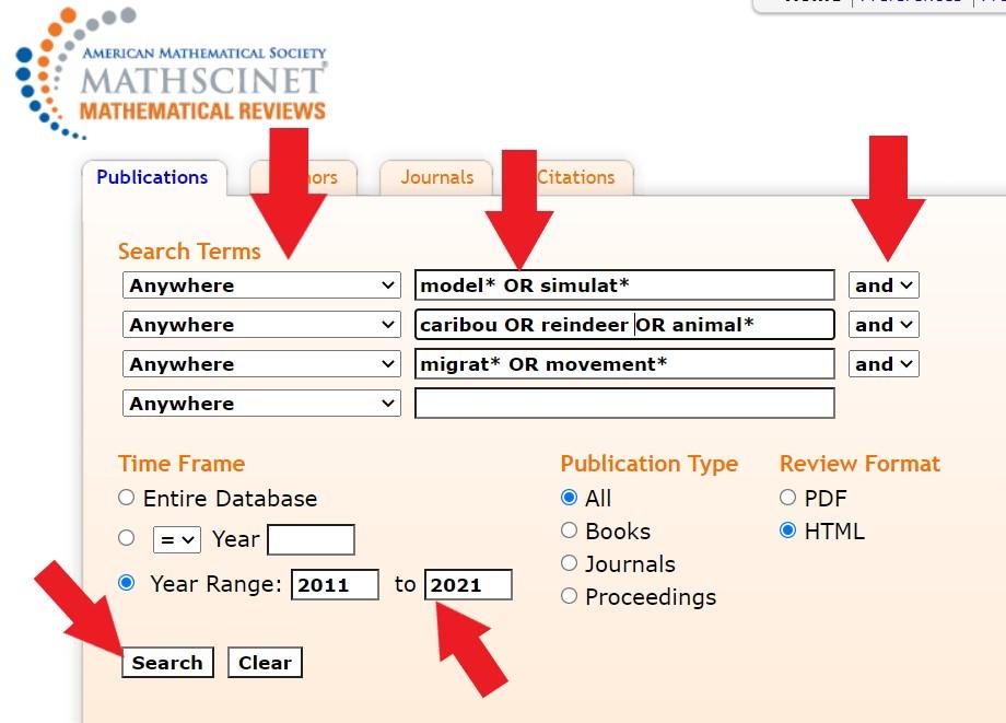 MathSciNet Search Screenshot