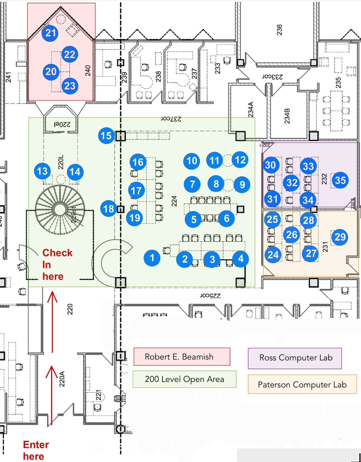 Map of study spaces in the NJMHS Library