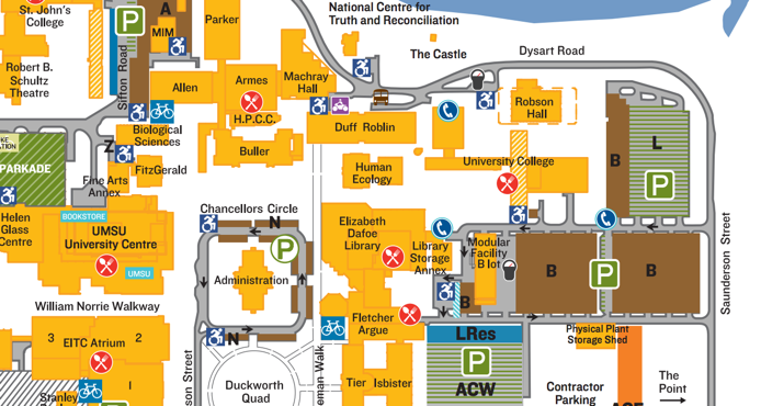 Map of B Lot Parking behind the Dafoe Library.