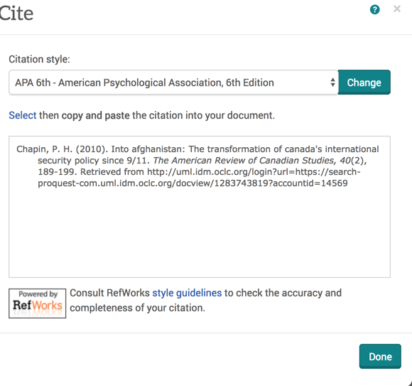 When you click the Cite hyperlink, a window opens up and displays the citation of the source in a chosen style.