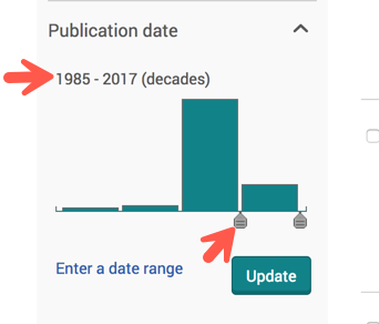Publication date covering all the 418 results are shown in the left-hand side of the page.  Now you can move an arrow to view the most recent years.