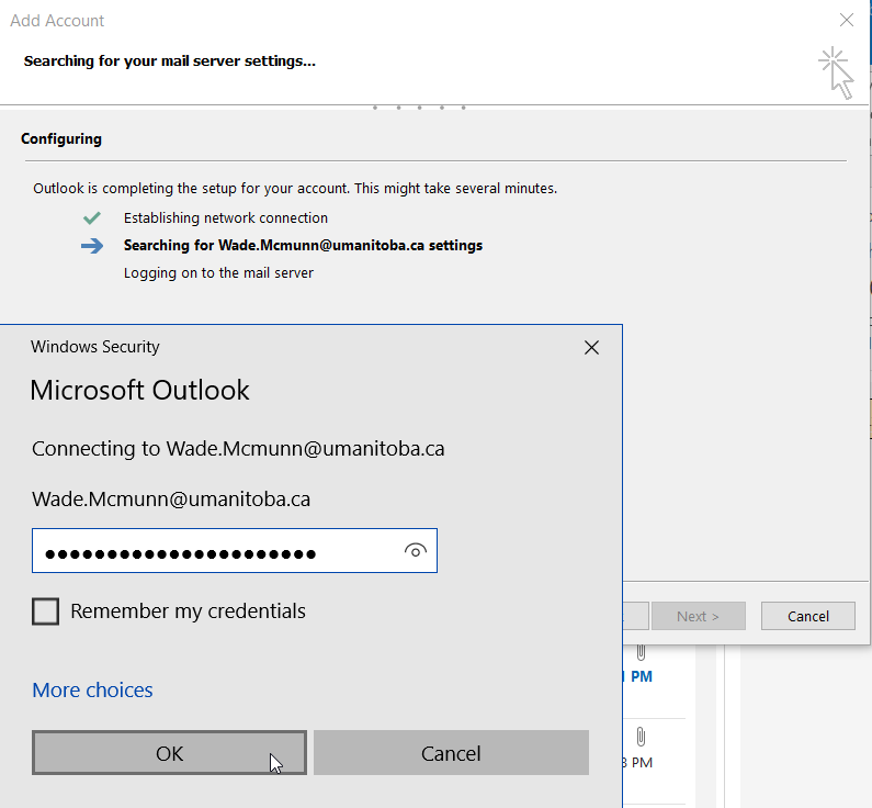Outlook - Provide SignUM password when prompted