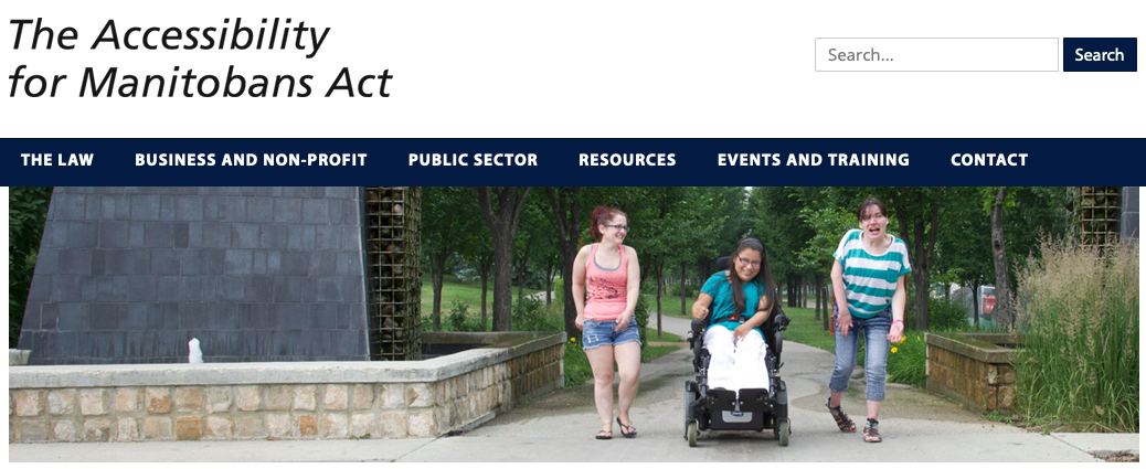 screenshot of accessibility manitoba website