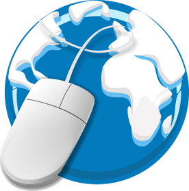 clipart of globe with computer mouse
