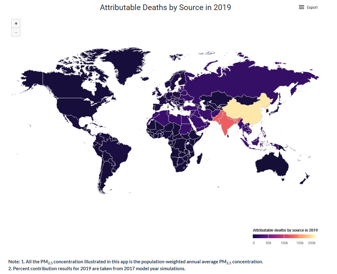 Map displaying data on health impacts of air pollution from the GBD - Maps website.