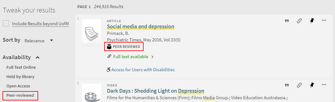 library record of article that has peer review underneath and shows peer review option selectable in the library's search