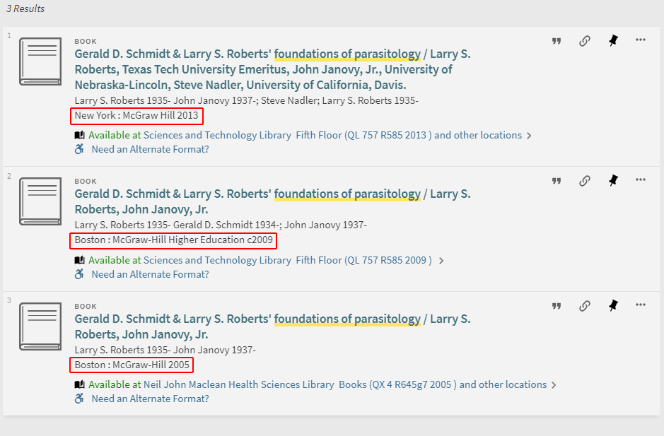 Basic search one stop search help libguides at university of pay attention to the publication dates which indicate these three results are different editions click on the available at hyperlink to show all the ccuart Images