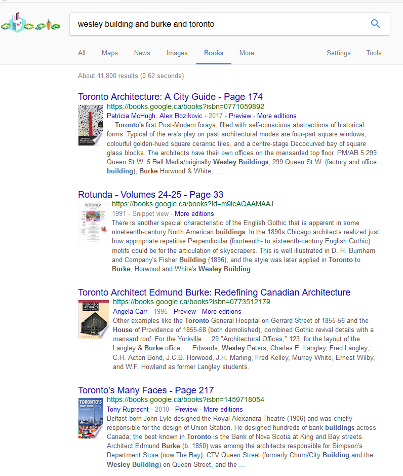 Screen shot of a Google Book search on the Wesley Building Burke Toronto