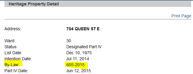 Screen shot of the Heritage Property Detail Record for 704 Queen St. East highlighting bylaw number