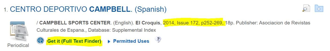 sample article from El Croquis highlighting the Issue Number and page numbers and the Get It Full Text Finder link