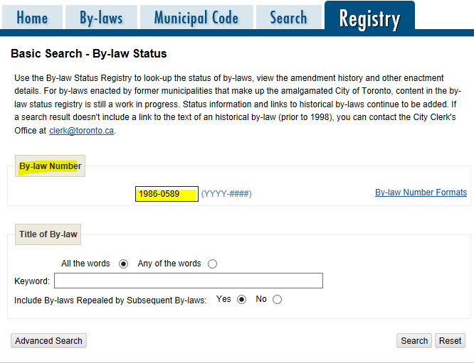 screen shot of bylaw registry search page highlighting bylaw number search