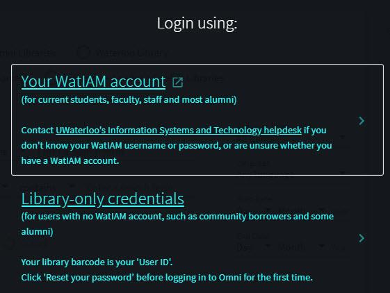 Screen capture of login links