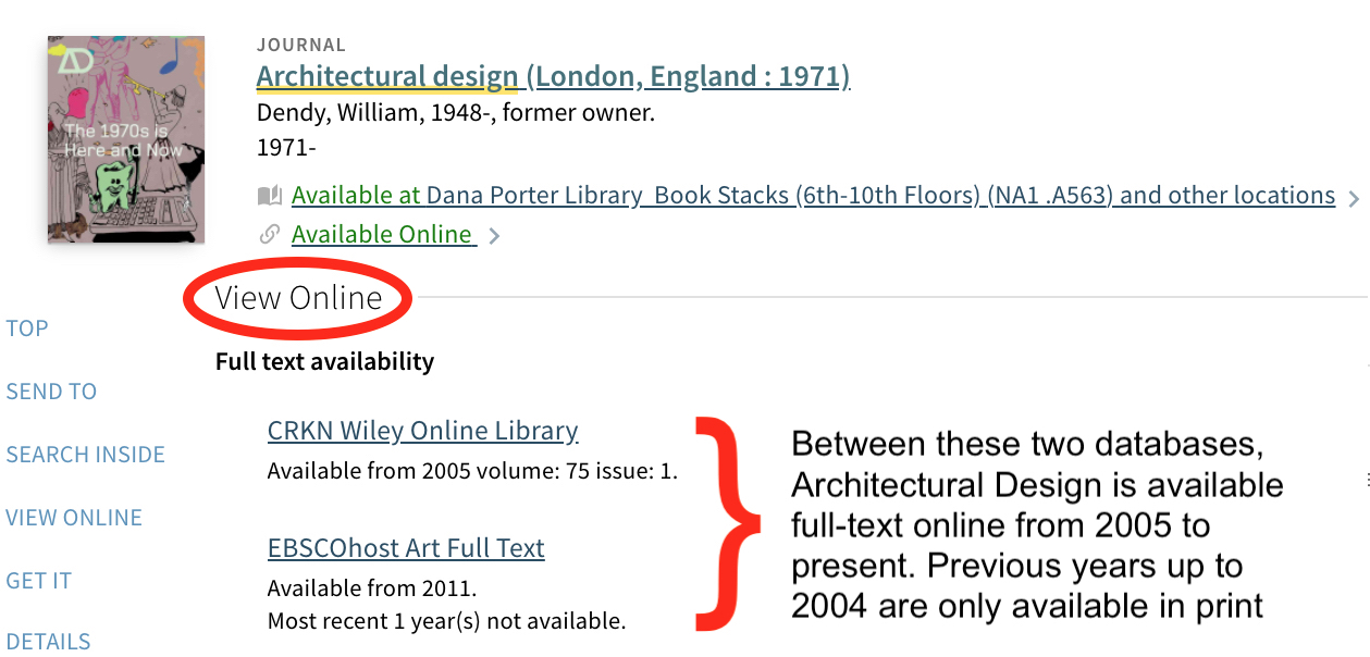 Screenshot of Architectural Design catalogue record showing full-text availability from 2005 to present