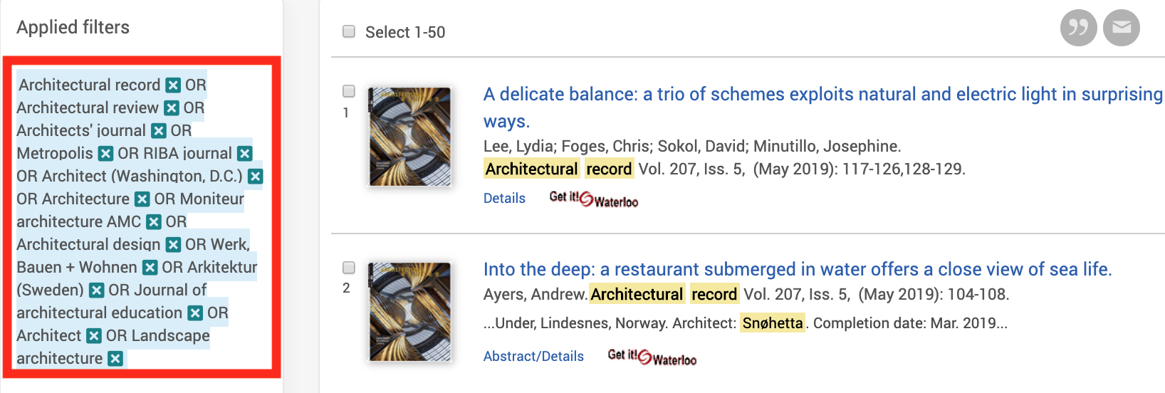 Screenshot of Avery Index search results with 'Publication title' filter shown as applied