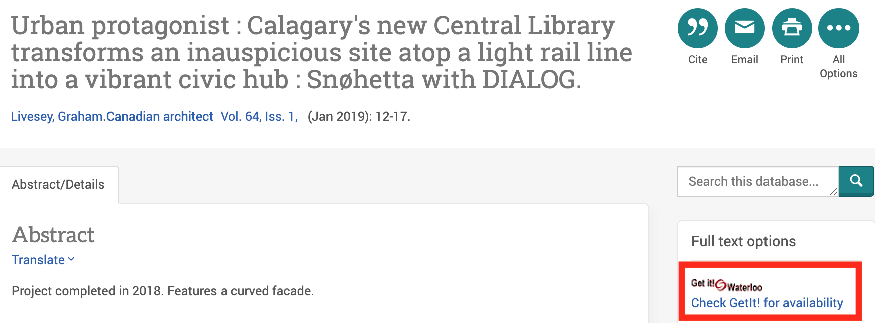 Screenshot of individual article record in Avery Index and GetIt!@Waterloo link