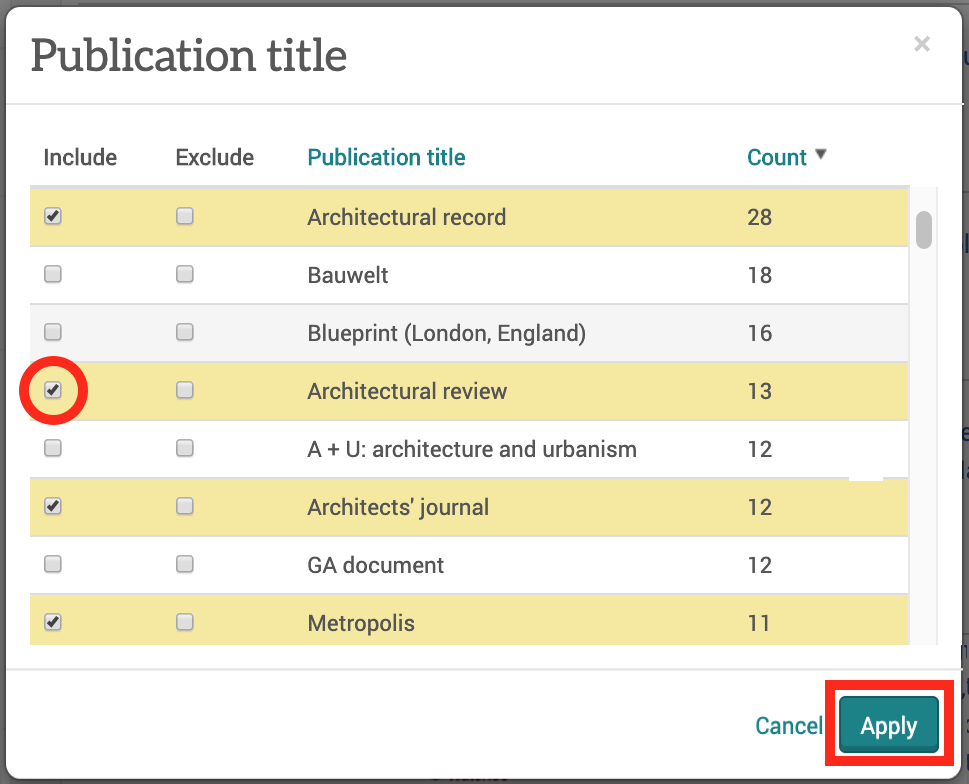 Screenshot of 'Puplication title' pop-up window showing how to include or excluded specific journals in your search results