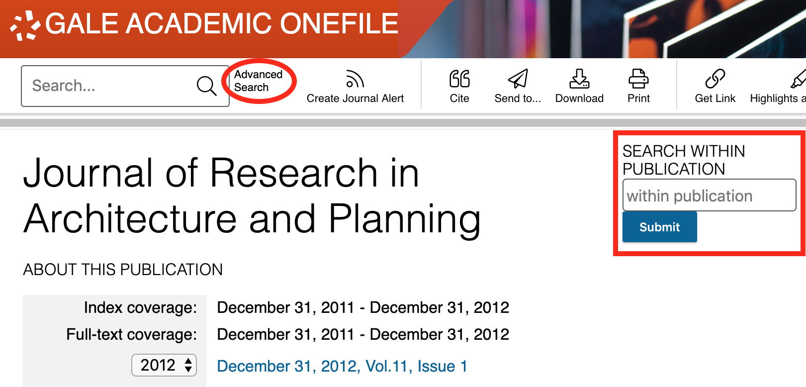 Screenshot of journal database record showing 'Search within publication' and 'Advanced Search' options