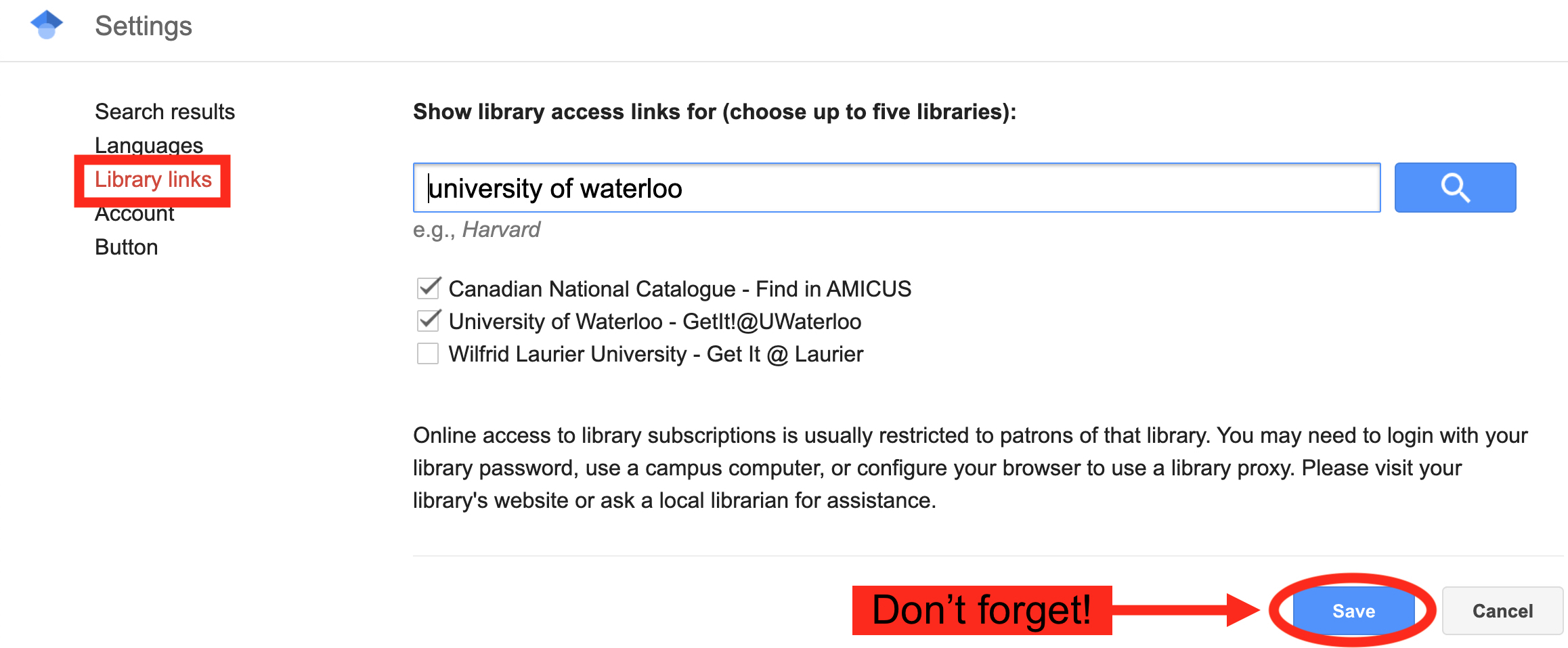 Screenshot of how to turn on Library Links in Google Scholar Settings