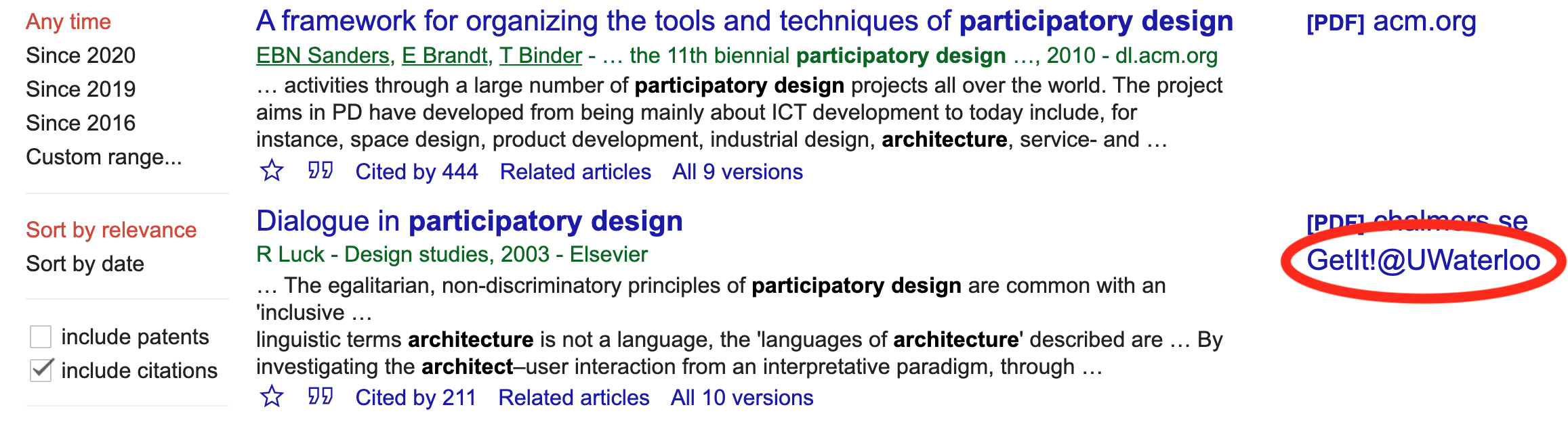 Screenshot of Google Scholar results showing article with 'GetIt!@UWaterloo' link
