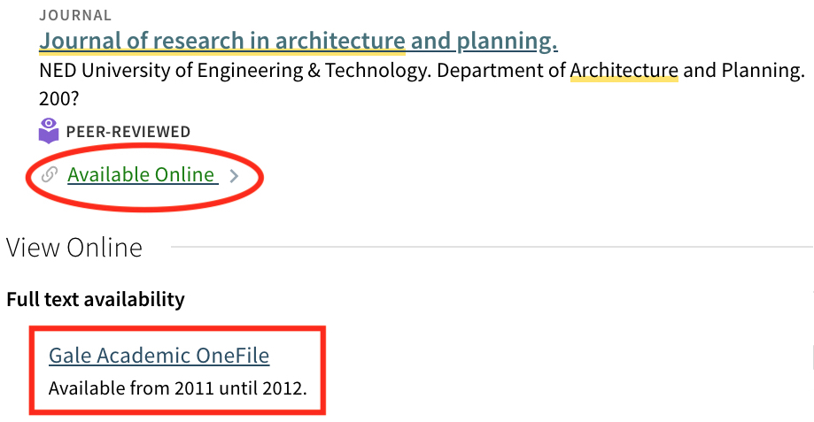 Screenshot of Journal of Research in Architecture and Planning catalogue record showing it is available online through Gale Academic Online