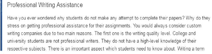 Contract cheating site claiming students don't have the writing skills to successfully complete their assignments.
