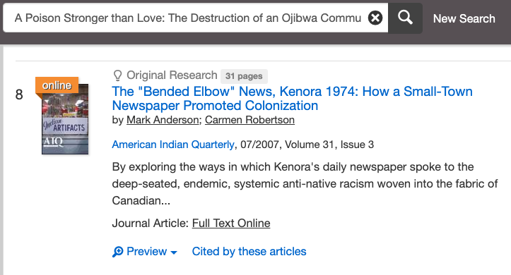 image shows an article retrieved online that cites a book found in a reference list